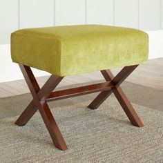 Chatham House Upholstered Ottoman with Wood Legs in Lime - BedBathandBeyond.com