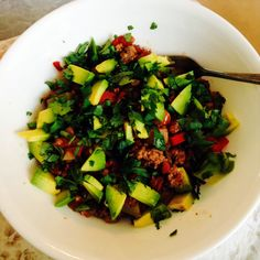 11:3 Hot Plate: Mexicali Meat-- Ground Beef, Tomatoes with Chilies, Green  Red Bell Peppers, Avocado, Scallions, Cilantro - http://theclothesmakethegirl.com/2014/01/11/whole30-2014-week-3-food-plan/