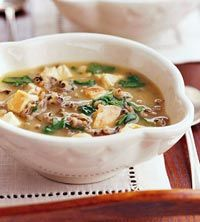 Chicken and Wild Rice Soup - Spinach adds both flavor and nutrients to ordinary chicken and wild rice soup. This 216-calorie slow-cooker soup is effortless and satisfying. Servings Per Recipe: 6, fiber: (g) 2, cal.: (kcal) 216, pro.: (g) 26, chol.: (mg) 64, sat. fat: (g) 1, sodium: (mg) 397, carb.: (g) 19, Fat, total: (g) 4,