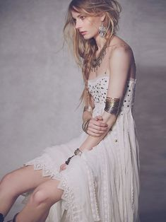 Free People Studded Lace Cut Out Ivory Party Dress