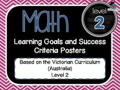 VICTORIAN CURRICULUM UPDATED TO VERSION 8.3 Level 2 All MATHEMATICS Learning Goals Success Criteria! VICTORIAN CURRICULUM This packet has all the posters you will need to display the learning goals for the whole year: Level 2 VICTORIAN Curriculum MATHEMATICS - NUMBER