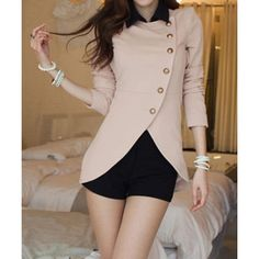 Ladylike Style Long Sleeves Irregular Solid Color Single-Breasted Women's Coat, PINK, ONE SIZE in Blazers   DressLily.com