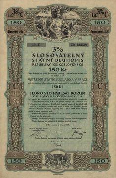 Slosovatelný státní dluhopis republiky Československé (3% verlosbare Staatsschuldverschreibung der Čechoslovakischen Republik, 3% sorsolási csehszlovák köztársasági államkölcsönkötvény) na 150 Kč. Praha, 1926.  tzv. odškodňovací dluhopis za válečné půjčky.