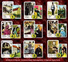 Block Of 9 Spread (Combined Kipper Wahrsagekarten & Zigeunar Gypsy Cards)-Nina's Marriage..Whats Up?