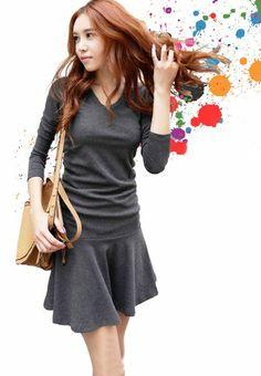 Amazon.co.jp: Vネック長袖ミニワンピース グレー フリーサイズ: 服&ファッション小物