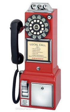 Crosley Radio Crosley Radio Classic Pay Phone (red), Telephones - Drop shipping to your customers Retro Phone, Vintage Phones, American Diner, Old Phone, My New Room, Landline Phone, Coca Cola, Scale, Antiques