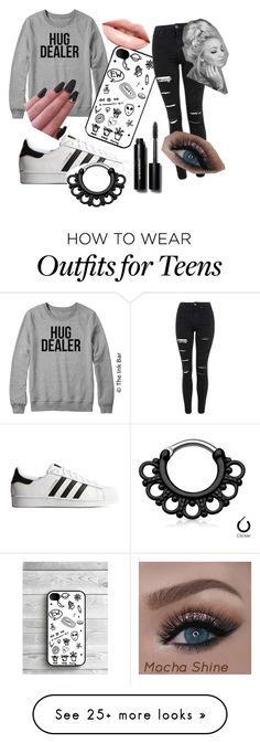"""Tumblr/ Tomboy/ Goth"" by spritemurriel on Polyvore featuring mode, Topshop, adidas Originals, Bobbi Brown Cosmetics en LASplash"