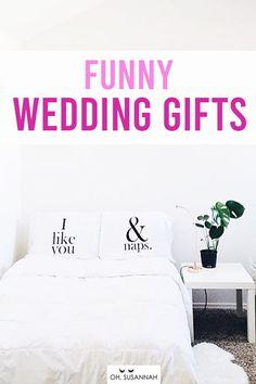 """HILARIOUS (but still super sweet) wedding gifts for the bride and groom! Send a message the couple will love with """"I Like You & Naps"""". Because, don't we all?  It's one of the most creative and unique wedding gift ideas you could find! This set is romantic, thoughtful, creative, useful, and a great way to remember their wedding day! These are the perfect wedding or anniversary gift! #FunnyGift #FunnyWeddingGift #AnniversaryGift #WeddingGift #OhSusannah Funny Wedding Gifts, Creative Wedding Gifts, Wedding Humor, Cotton Anniversary Gifts, Wedding Anniversary Gifts, Couple Pillowcase, Monochrome Bedroom, Cotton Gifts, Valentines Day Gifts For Her"""