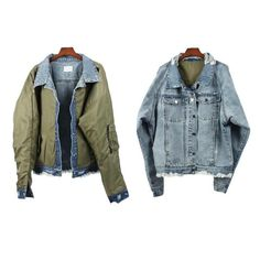 Thickness:Standar Closure Type:Single Breasted Lining Material:Cotton Sleeve Style:Regular Material:Polyester,Cotton,Rayon Type:Loose Detachable:Part None Flight Bomber Jacket, Green Bomber Jacket, Jean Jacket Outfits, Denim Jacket Men, Preppy Mens Fashion, Latest Mens Fashion, Outerwear Jackets, Men's Jackets, Street Wear