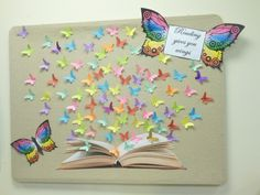 Beautiful Butterfly Bulletin Board at the Canterbury Public Library.Reading gives you wings bulletin board.butterflies coming out of . Butterfly Bulletin Board, Reading Bulletin Boards, Classroom Bulletin Boards, Board Decoration, Class Decoration, School Decorations, School Displays, Classroom Displays, Classroom Decor