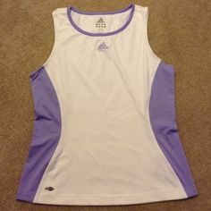 ADIDAS PURPLE AND WHITE CLIMALITE TANK TOP SIZE M Great Adidas tank top. Purple and white. Only one small spot in back will probably wash out. Size medium Adidas Tops Tank Tops
