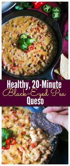 Healthy, 20-Minute Black-Eyed Pea Queso (gluten free, vegetarian)   dishingouthealth.com