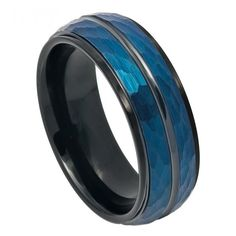 Please Take A Moment To Visit Our Store For More Beautiful Jewelry!    MSRP: $299.99  Our Price: $99.99  Savings: $200.00    Item Number: TR754  Availability: Usually Ships in 5 Business Days    PRODUCT DESCRIPTION:    Crafted in durable Tungsten Carbide, this handsome wedding band for him offers a two tone black and blue finish with a Black Grooved Center, Step-Down Edge design with a Hammered Finish.    FEATURES:    Crafted in Durable Tungsten Carbide  Scratch Resistent  Black Finish…