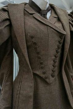 victorian tweed walking dress with vest