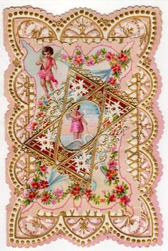 Beautiful Valentine Victorian Paper Lace Cherub Riding a Swan, Flowers