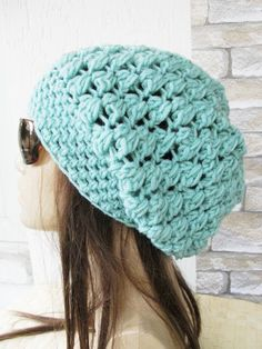 Slouchy Beanie Crochet Hat Slouchy Hat Beanie Hat Neon Blue Women hat chunky knit blue Beanie Fall Winter Accessories Fashion