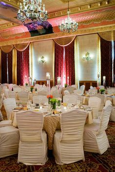 Spring time gala with champagne French pleat linens, ivory chair covers and colourful flowers in coral & lime.