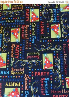 Clearance SALE Party On~Birthday Words~Cotton Fabric,Quilt, Craft,by Quilting Treasures,23546J Fast Shipping N255