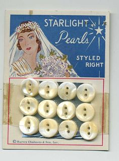 ButtonArtMuseum.com - Pearl  Buttons On Their Original Store Card - Bride - 1940's
