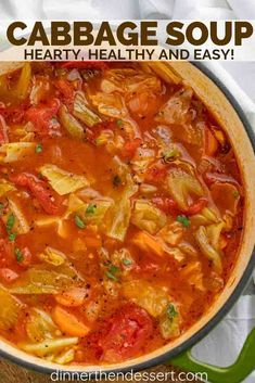 Cabbage Soup is the PERFECT savory vegetable soup made with cabbage tomato carrots celery and spices ready in under 45 minutes! The post Cabbage Soup is the PERFECT savory vegetable soup made with cabbage tomato car appeared first on Recipes. Cabbage Roll Soup, Cabbage Soup Recipes, Healthy Recipes, Healthy Soup Recipes, Cabbage Rolls, Cabbage Soup Diet, Stuffed Cabbage Soup, Soup With Cabbage, Crockpot Cabbage Soup