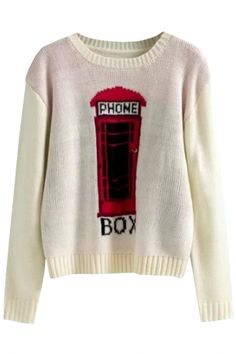 Phone Box Printed Knit #Sweater - OASAP.com `•.❤ FREE SHIPPING + Holiday Deals From $3.9, Ship Within 24 Hours!
