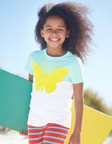 Colourblock Appliqué T-shirt Opal Butterfly - size 3/4