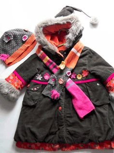 Deux par Deux Winter Coat with Hat and Scarf
