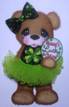 ELITE4U TEAR BEAR GIRL TUTU PAPER PIECING PREMADE SCRAPBOOK ~ Easter CARD ~ALBUM