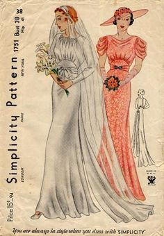 Simplicity 1751 : Bridal or Evening Gown || circa 1933-1935