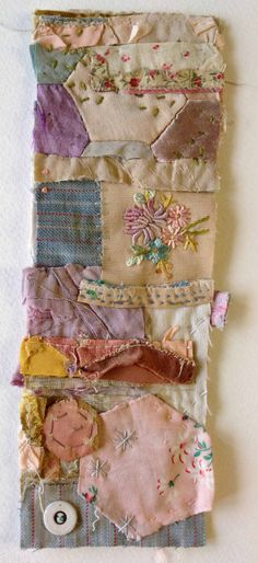 Textile Collage Strippy by Mandy Patullo  ''It is a collage of tiny bits of fabric and other found textile scraps which are almost invisibly sewn together . The composition and colour have been carefully controlled to provide I hope a charming and perfectly composed whole. I spend a great deal of time trying to get it absolutely right in terms of the edges, boundaries , shapes and textures and stitched marks. A bit like painting with fabric!''