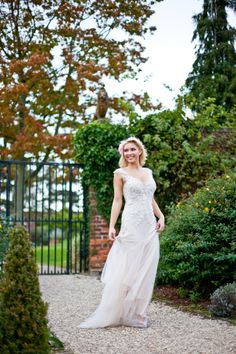 beaded, vintage-inspired blush wedding gown - Briana by Sarah Janks
