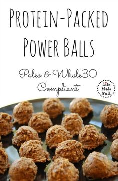 Power Balls These Protein-Packed Power Balls are Paleo and compliant! Perfect for a post-workout snack!These Protein-Packed Power Balls are Paleo and compliant! Perfect for a post-workout snack! High Protein Snacks, Healthy Snacks, Quick Snacks, Paleo Protein Balls, Paleo Energy Balls, Delicious Snacks, Protein Muffins, Protein Cookies, Diet Snacks
