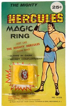 1962 Mighty Hercules Magic Ring Mint Sealed on Card Vintage Comic Books, Vintage Cartoon, Vintage Comics, Vintage Toys, Antique Toys, 1960s Toys, Retro Toys, Sea Monkeys, Cheap Toys