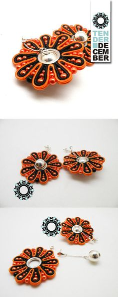 OOAK both side soutache orange and black circle earrings with silver black orange soutache round earrings original moving textile earrings Orange Earrings, Black Earrings, Circle Earrings, Round Earrings, Slow Design, Bead Sewing, Soutache Earrings, Try On, Wire Wrapping