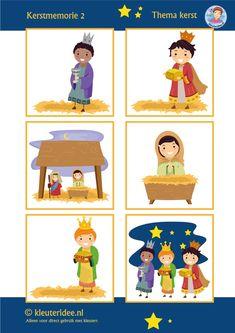 Kerst memorie voor kleuters, kleuteridee / Preschool christmas memory, nativity 1, free printable