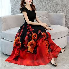 6b68a2befa2 Women s Plus Size Going out Loose Swing Dress U Neck 2018 - US  21.59