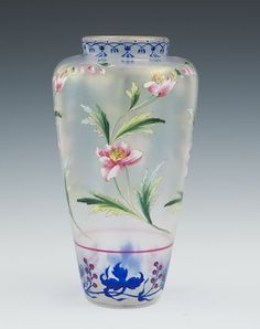 Franz Hecker enameled and hand painted glass vase