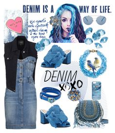 """""""Only denim"""" by ane-56 on Polyvore featuring Valley Cruise Press, LE3NO, Moschino, N°21, Kate Spade, Blue La Rue, Gucci and GUESS"""