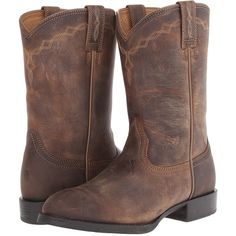 Ariat Heritage Roper Cowboy Boots featuring polyvore, fashion, shoes, boots, mid-calf boots, equestrian boots, riding boots, western style boots and mid calf riding boots