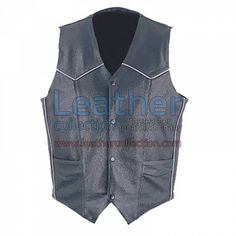MENS CLASSIC LEATHER WHITE PIPING VEST for $108.80 - https://www.leathercollection.com/en-us/mens-leather-white-piping-vest.html