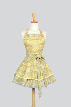 Ruffled Retro Apron , Handmade Flirty Full Womens Apron Retro Yellow Grey and White Damask Ribbon Florals