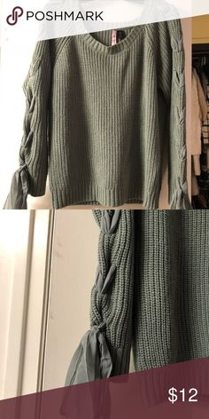 bc9b59c6e14f Pretty green sweater with lace-up sleeves Cute olive green sweater with  chiffon ribbon lace up sleeve detail. Sweaters Crew   Scoop Necks