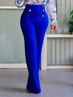 Lovely Stylish High Waist Double-breasted Design Blue Polyester Pants We Offer Top Good Quality Cheap Clothes For Women And Men Clothing Wholesaler, Get Affordable Clothing At Worldwide. Classy Outfits, Chic Outfits, Fashion Outfits, Dress Fashion, Vetement Fashion, Look Fashion, Fashion Design, African Fashion Dresses, Trendy Dresses