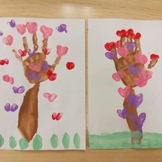 Here is a hand print art project in honor of Valentines Day. It's great for older toddlers and preschool students.