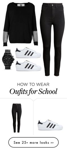 Polyvore featuring Topshop, H&M & adidas