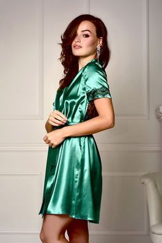 b71c03d843 Green robe Lace back satin robe Bridesmaid robe Short sleeve robe Lace robe  Satin lace robe Plus size robe Robes for women Bridal party robe