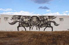 by JAZ - New mural for Viavai Project - Racale, Italy - Graffiti, Black Books, Interesting Photos, Les Oeuvres, Writers, Moose Art, Sculptures, Italy, Doors