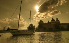 яхта, вода, замок, небо