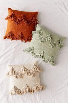 Shop Sadie Fringe Throw Pillow at Urban Outfitters today. Diy Throws, Diy Throw Pillows, Boho Pillows, Decorative Pillows, Colorful Throw Pillows, Decor Pillows, Ramadan Decoration, Boho Aesthetic, Boho Home