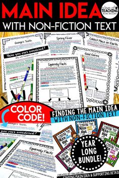 Main Idea MEGA Bundle! Get 92 different seasonal and non-seasonal non-fiction reading passages for students to use all year long! These short non-fiction passages are the perfect teaching tool to use to reinforce the skill of finding the main idea and supporting details. The high interest and engaging non-fiction topics make learning about main idea fun and interesting for students! All answer keys are included.  RI.4.2